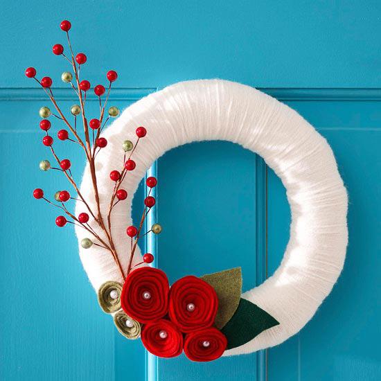 White Yarn Christmas Wreath