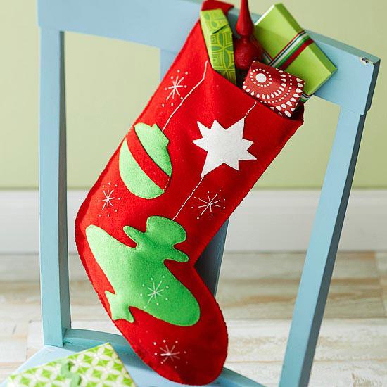 Retro Ornaments Felt Stocking