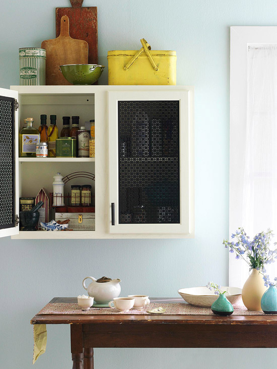 Kitchen Cabinet Makeover: Metal Inserts