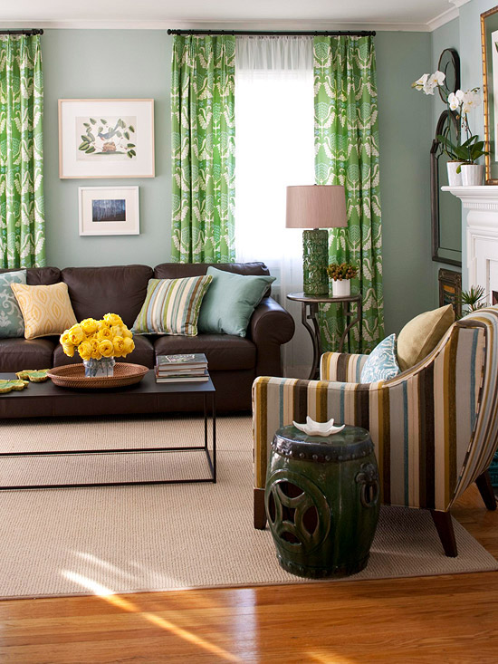 modern brown living room. Brown  Green and Blue What Colors Go with