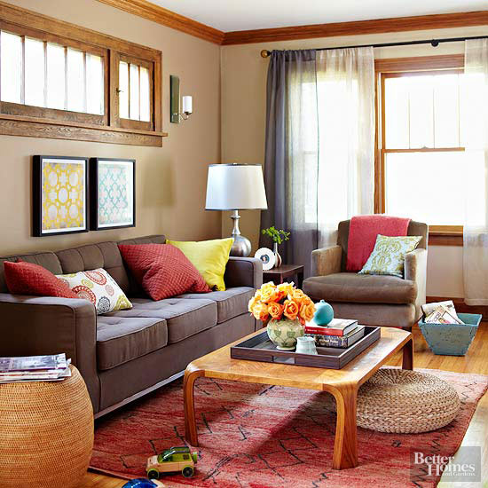 living room with brown sofa. Brown is a warmer neutral that plays well with wood and other warm tones  just think of all the colors fall Choose accent hues in autumn such as Ways to Decorate Sofa