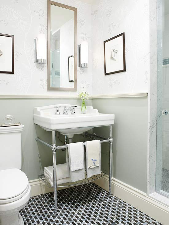 Bathroom space savers better homes and gardens for Small 1 2 bathroom decorating ideas