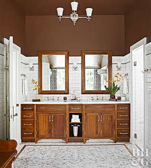 Wash your walls in a pale shade to make a small bathroom feel airy. Choose  a tone that is similar to the flooring or fixtures to really brighten and  open ...