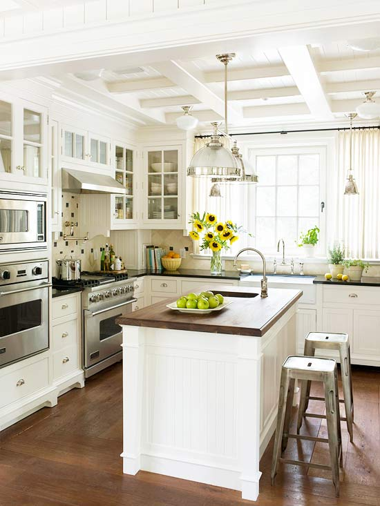 Superbe Kitchen With A Coffered Ceiling