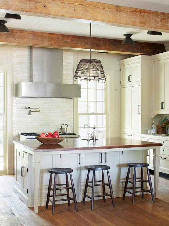 Try Wood Counters On The Island Or Throughout The Kitchen For A Classic  Farmhouse Look. The Signs Of Wear And Age Only Add To The Personality And  Patina.