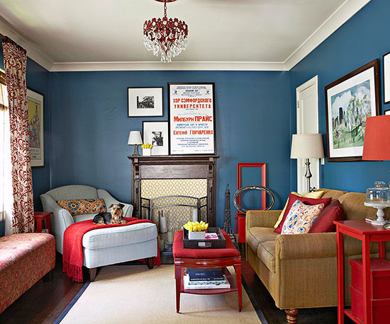 The Navy Blue Walls In This Living Room Are Almost A Neutral Backdrop That  Can Pair With Almost Any Other Color. Try Navy With Hot Pink, Pale Blue, ...