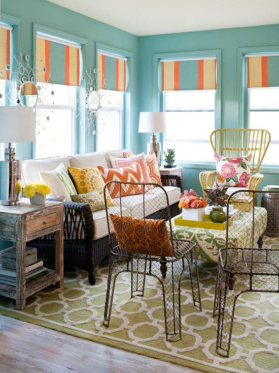 20 Beautifully Smooth Streamlined Walls Designed By: Colorful Sunroom Makeover