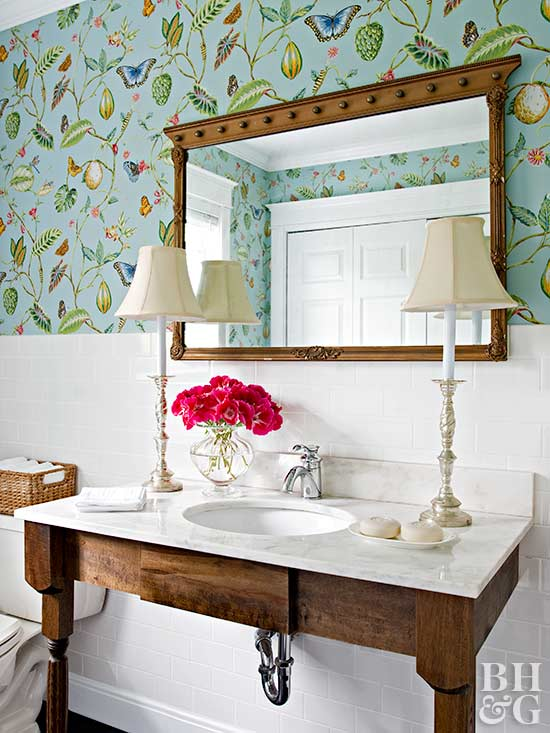 garden bathroom ideas powder room ideas better homes and gardens bhg 11854