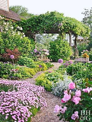 cottage style landscape design is relaxed and loose not rigid or formal to enhance the air of informality curve the pathways and flowerbed edges - Garden Design Cottage Style