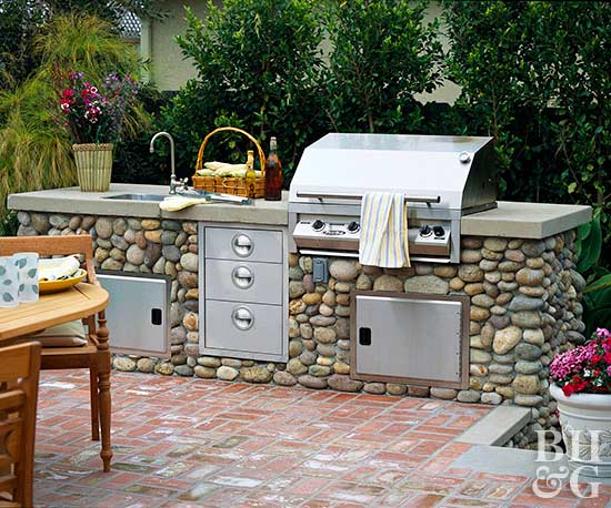 Outdoor kitchen design ideas for Outdoor kitchen brick design