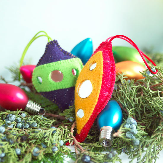 Make Mirrored Felt Christmas Ornaments