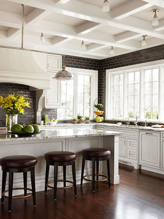 A kitchen with old world charm meets modern amenities Kitchen platform granite design