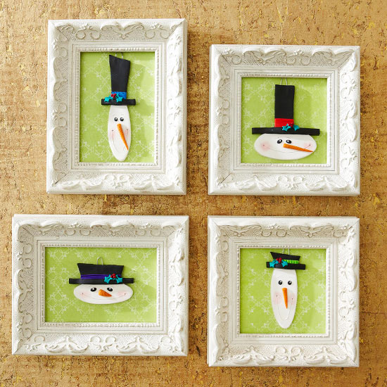 Make Framed Snowman Ornaments