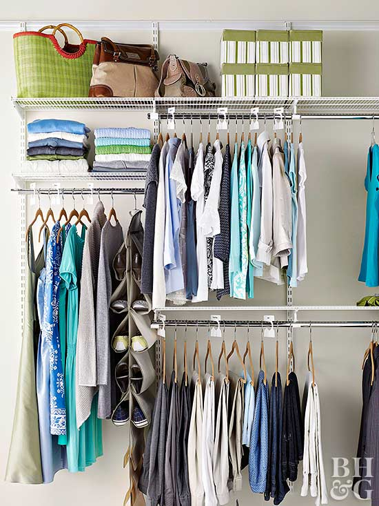 Walk in closet organization - Small space clothes storage pict ...
