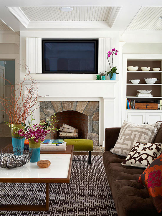 Mounting a television above a fireplace can double your viewing pleasure