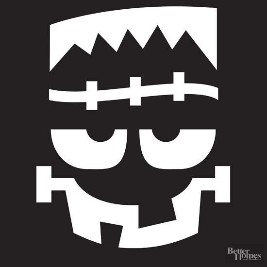 Frankenstein Face Pumpkin Stencil