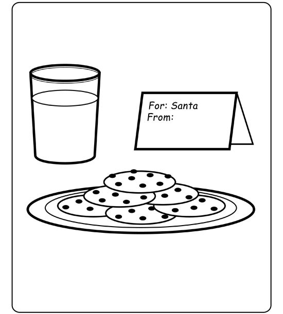 Santa Eating Cookies And Milk Pages Coloring Pages