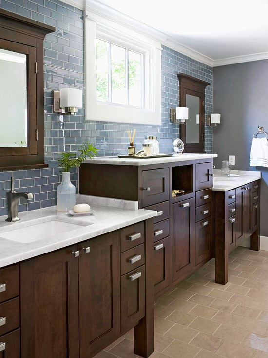 ... Traditional bathroom vanity design in rich color