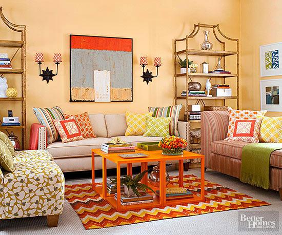 orange living room. Black Bedroom Furniture Sets. Home Design Ideas
