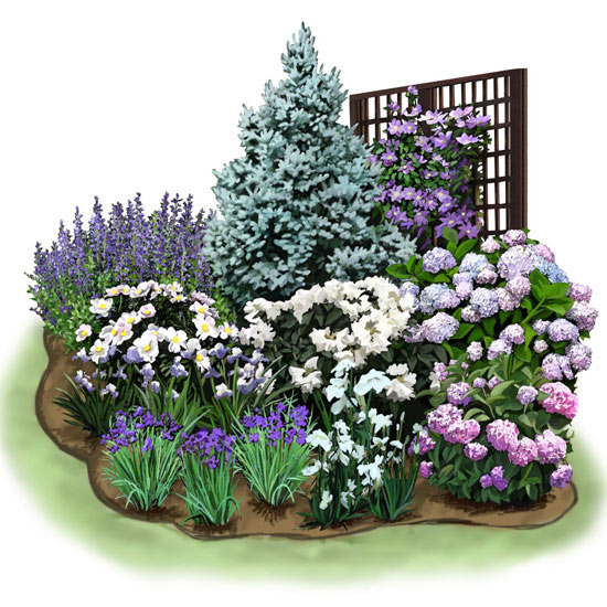 Cozy corner garden plan for Corner landscape plans