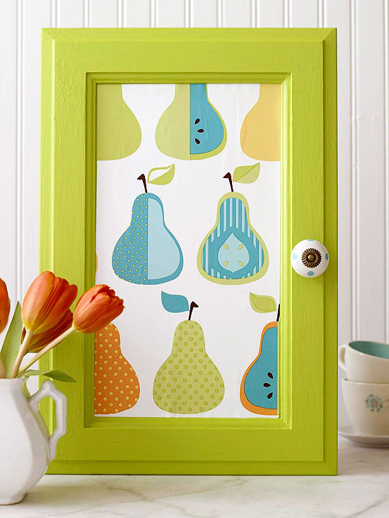 Simple ways to update the look of your old cabinets - Wallpaper on kitchen cabinet doors ...