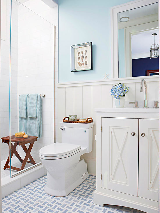 Bathroom tour blue white cottage style for Blue white bathroom ideas