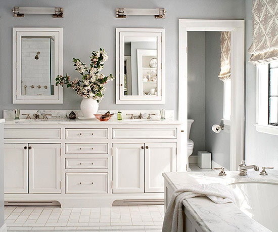 Soothing bathroom color schemes pewter ivory mozeypictures Choice Image