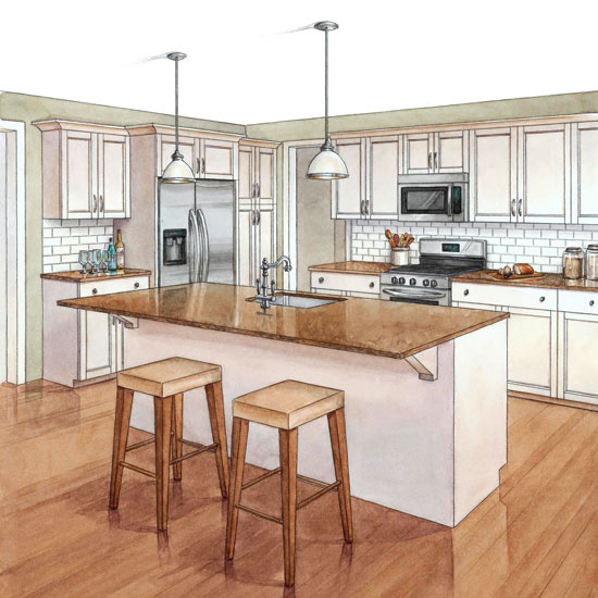 Kitchen remodeling costs traditional - Cocina en perspectiva ...