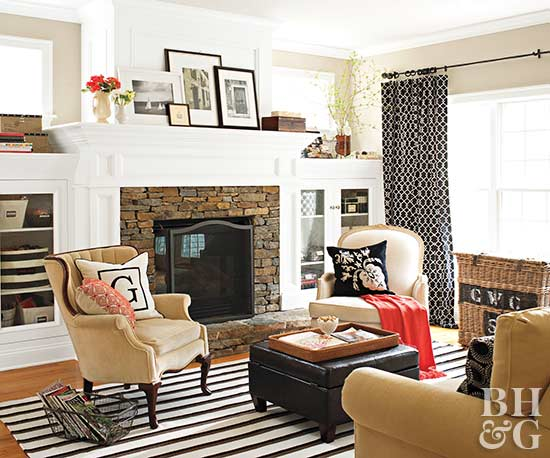 Fireplace built ins for Southern living house plans with keeping rooms