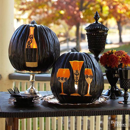 Wine Bottle and Glasses Pumpkin Stencils