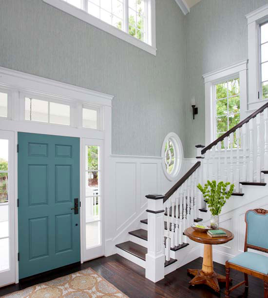 turquoise painted interior door