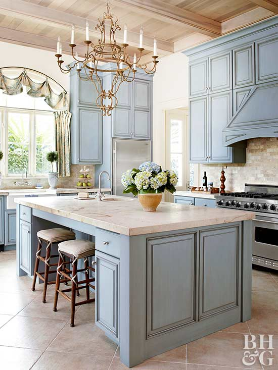 Sweeps Of Baby Blue To Navy Kitchen Cabinets Sporting Stained Painted Glazed Lacquered
