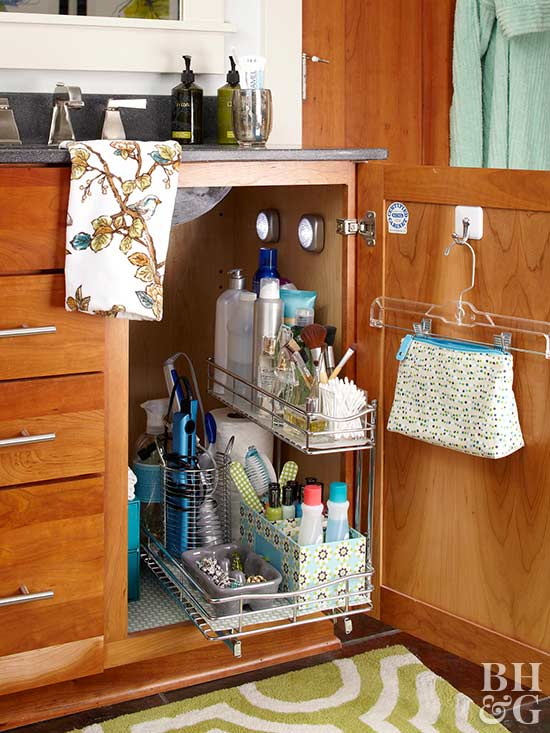 Simple tips for organizing toiletries for Under counter bathroom storage ideas