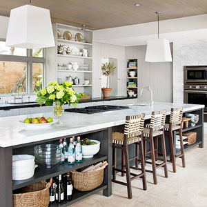 The size of your kitchen island depends on the footprint of your kitchen.  Above all else, your island needs to fit comfortably in your space.