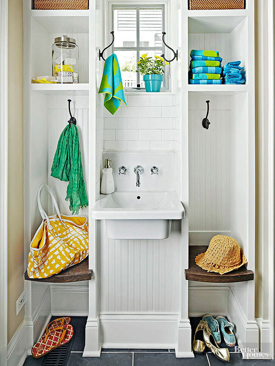 One wall mudrooms for Mudroom sink ideas