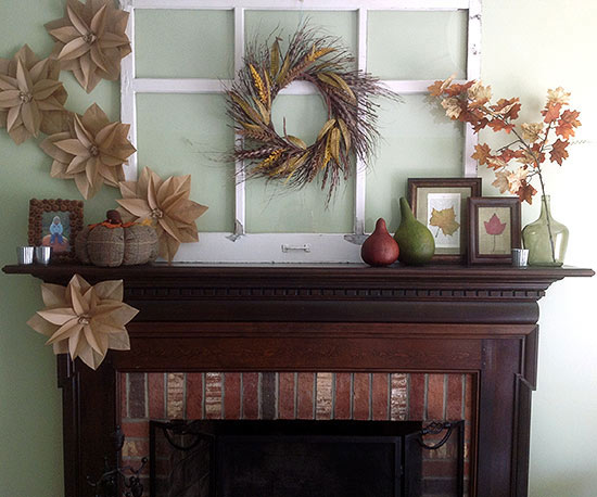 Fall Mantel With Paper Flowers