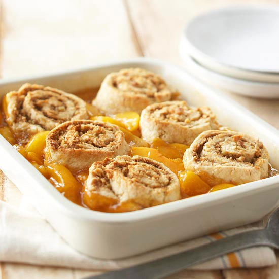 Peach Cobbler With Cinnamon Swirl Biscuits