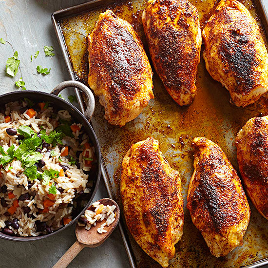 Mexican chicken recipes chicken enchilada recipes more bhg baked chicken breasts with black bean rice pilaf forumfinder Image collections