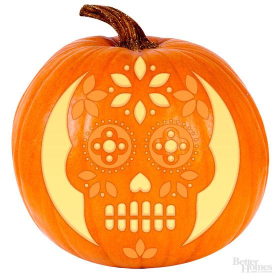Sugar skull pumpkin stencil for Skeleton pumpkin design