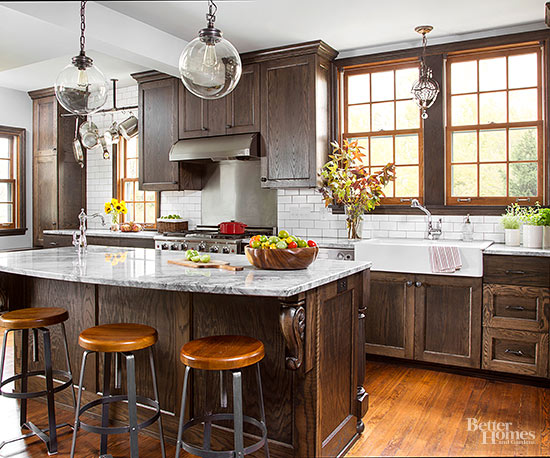 Mixed Color Cabinets Rustic Kitchen