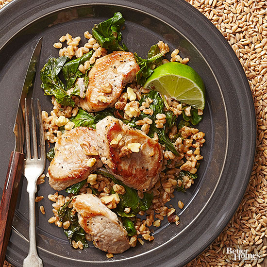 Garlic Lime Pork With Farro And Kale