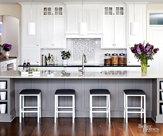 White kitchen design ideas for Gray and white kitchen decor