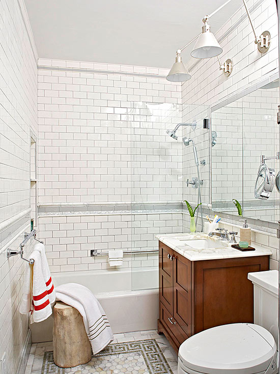 Small bathroom decorating ideas for Small and long bathroom designs