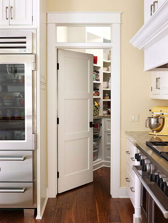 Chic frosted glass pantry door