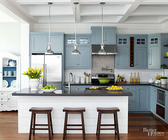 Kitchen decorating ideas add color for Blue kitchen paint ideas