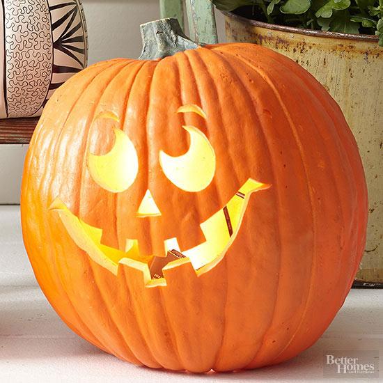 Wistful grin pumpkin stencil