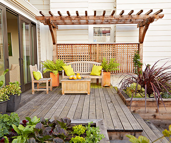11 simple solutions for small space landscapes for Small backyard ideas