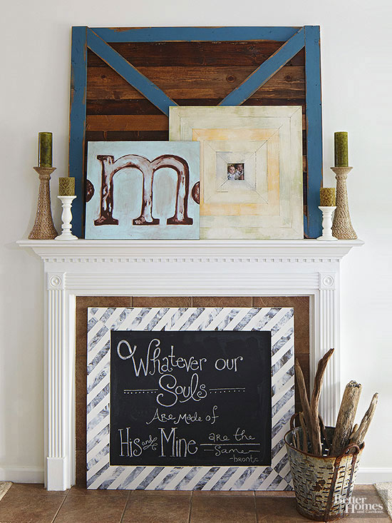 Fireplace mantel decorating for Decor over fireplace