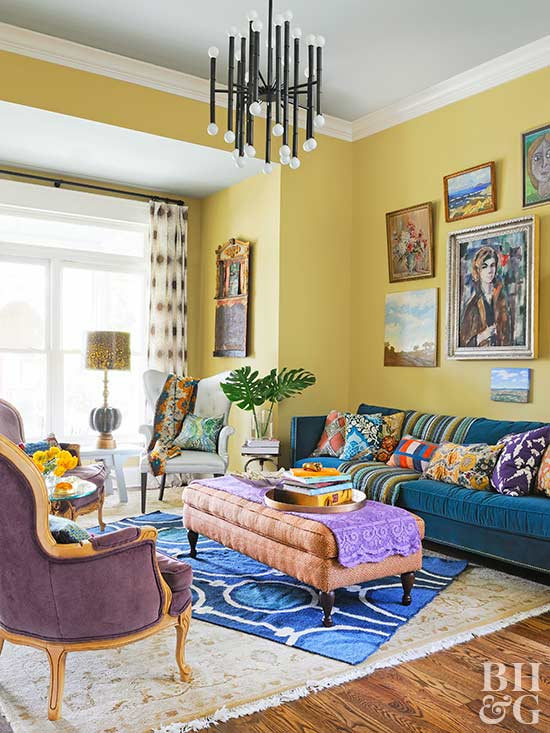 Great Boho Yellow. Living Room ...