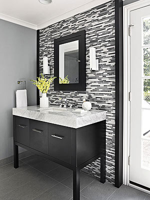 single vanity design ideas - Tile Bathroom Countertop